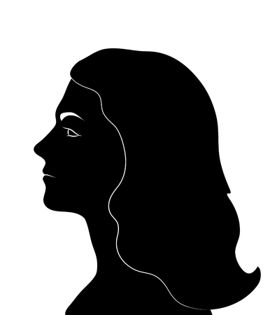 Female profile. Woman Face black silhouette. Vector illustration.