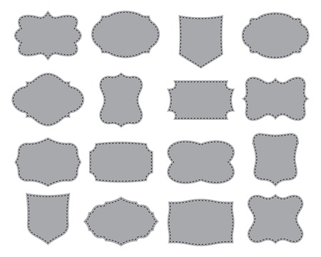 Set of simple frames. Collection of label shapes. Vector illustration.