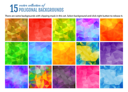 Set of 15 poligonal geometric backgrounds. Vector illustration.