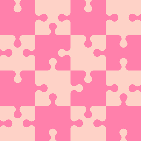 Puzzle seamless pattern. Pink abstract background. Vector illustration.