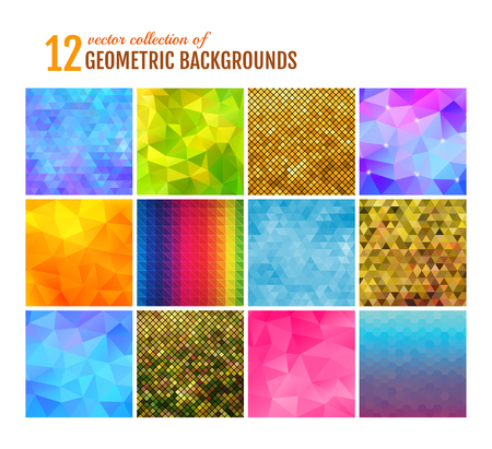 Set of 12 modern geometric backgrounds.  Vector illustration.