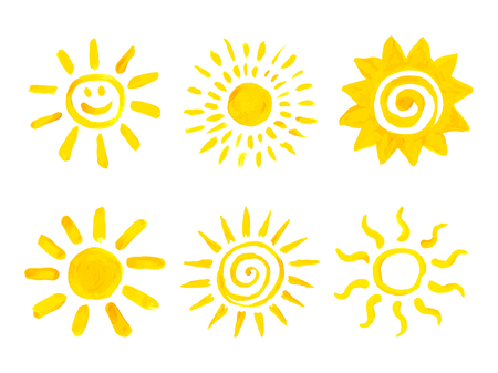 Set of hand drawn sun icons. Vector illustration. 版權商用圖片 - 101883362