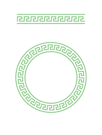 Greece circle ornament and greek brush with meander 向量圖像