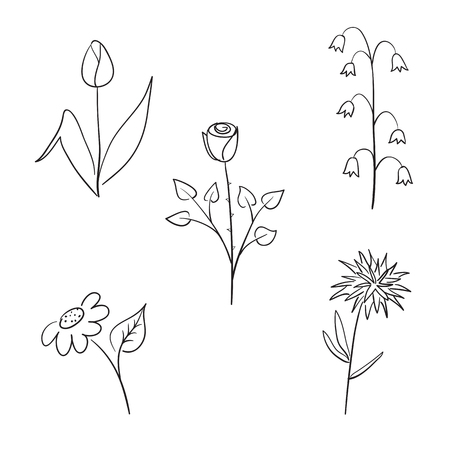 Flower set in kids drawing style.