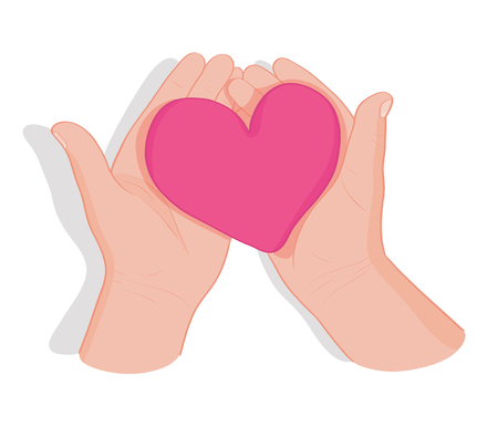 Hands holding heart. Symbol of love, donation, peace, charity friendship health care