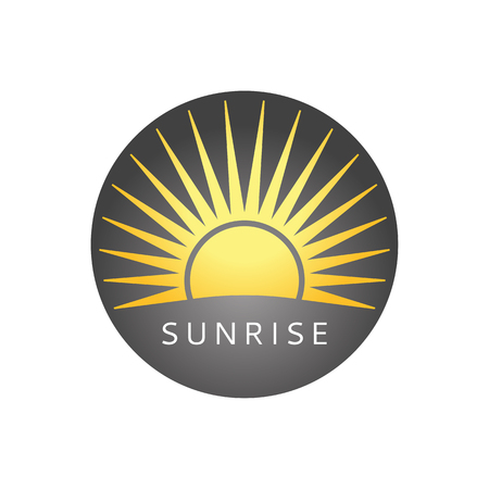 Sunny logo. Badge with sun. Sunrise icon. 向量圖像