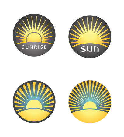 Set of summer badges with sunrise or sunset