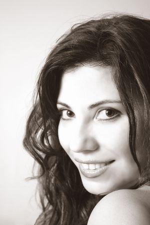 Beautiful brunette smiling Stock Photo - 220646