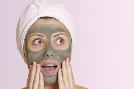 gasp: Oh no, my date is here already!  Oh my, thats cheap!Woman in mask looks sideways