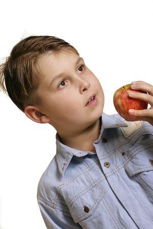 Boy with apple photo