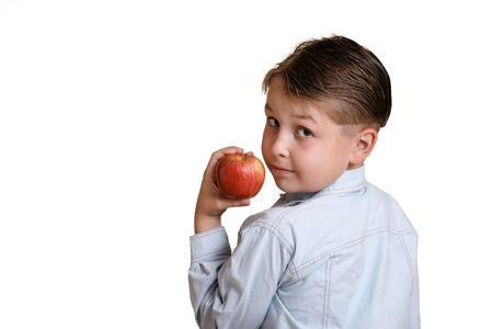 Boy with red apple photo