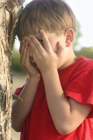 hide and seek: Hide and Seek... Dont Peek!!!! Stock Photo
