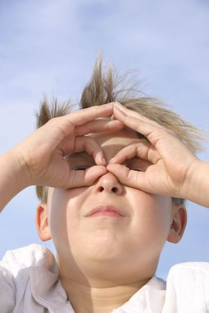 boldness: Searching:  Boy with imaginary goggles