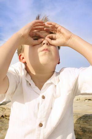 boldness: Boy looks to the futureeg:  discovery, searching, future,