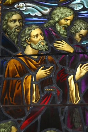 repent: Part of a leadlight window. circa 1837. Stock Photo
