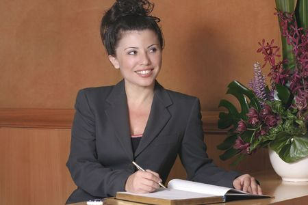 front desk: Hotel reception, front desk, customer service, busienss, etc Stock Photo
