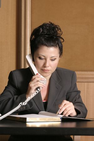solicitor: Business professional on phone with schedulediary