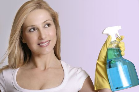 easily: Sparkle Girl Cleaning up.  The bottle and hand could easily be removed. Stock Photo