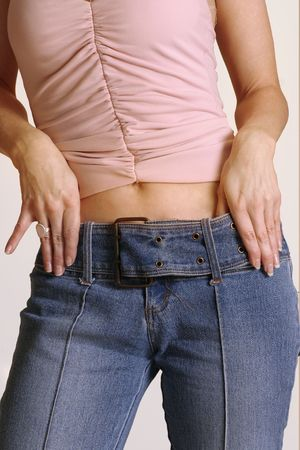 inches: Lose inches off your waistline Stock Photo