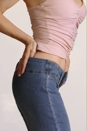 female butt: Get in shape, Girl in jeans side view Stock Photo