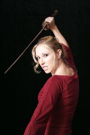 assasin: Blonde Assasin.  Dangerous woman swings a sword.   Dont mess with her.