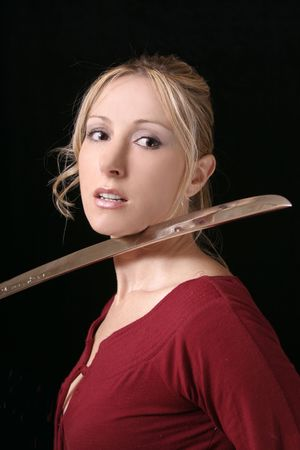 Defeat - Young woman victim with blade to throat