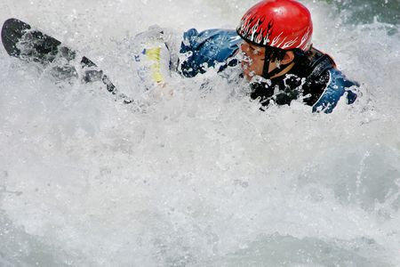 stamens: Swallowed up in Whitewater - A man and kayak are swallowed up in whitewater
