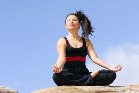 pranayama: Pranayama - Meditation and breathing Stock Photo
