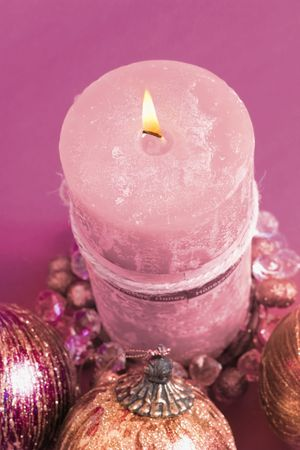 wicks: Christmas candle and decorations Stock Photo