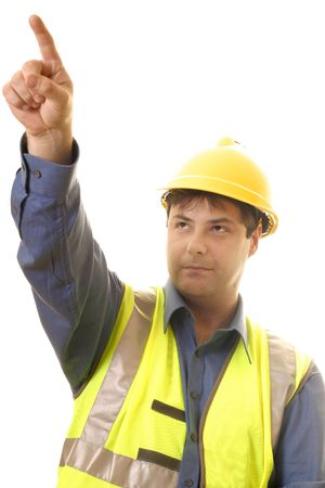 buiding: A project manager pointing up at progress.