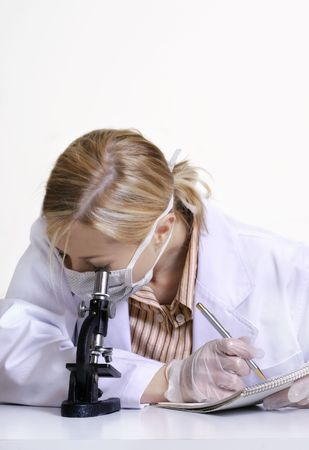 Under the Microscope - reviewing a speciment under a microscope.