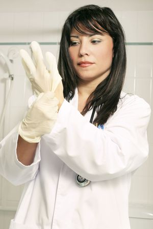 scrubbing up: Scrubbing up - doctor preparation procedure (occupational health safety) Stock Photo