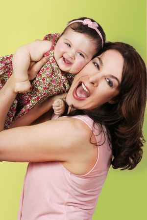 Fun with Mum - a mothers heart is always with her children Stock Photo