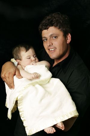Father with sleeping  baby in arms Stock Photo - 263356