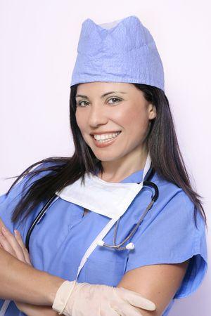 uniforme medico: Enfermera en uniforme azul m�dica  Foto de archivo