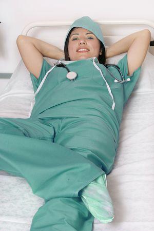 Nurse doctor, taking a restbreak photo