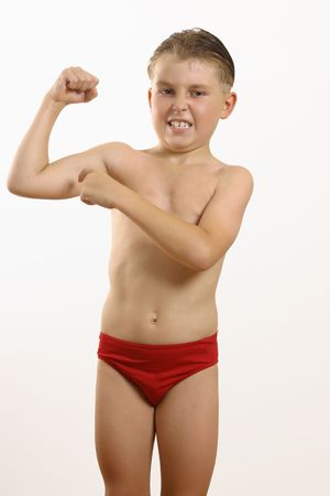 muscle boy: Look at my muscles. - Boy points to an arm muscle