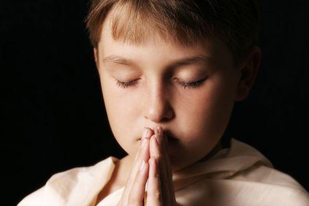 Child in prayer - horizontal softness added