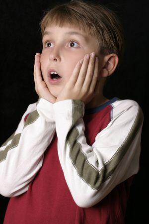 alarming: Expresi�n dada una sacudida el�ctrica o asustada del fright - Foto de archivo
