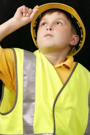 hard look: Little foreman overseeing the progress