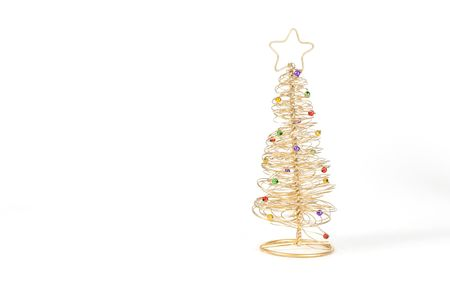 Gold Wired Christmas Tree On White Background. Stock Photo, Picture And  Royalty Free Image. Image 280377.