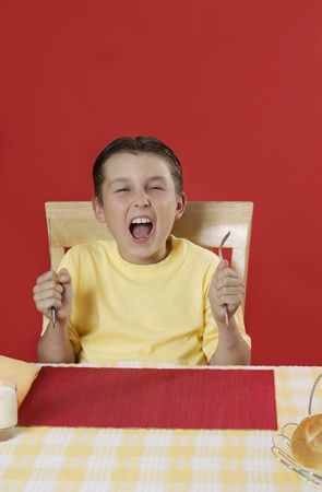 misbehave: Hungry boy screaming for his lunch or dinner