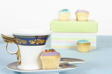 afternoon fancy cake: Tea or coffee  and fancy miniature cakes