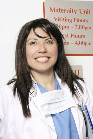 maternity ward: A hospital worker in the maternity ward area of hospital Stock Photo