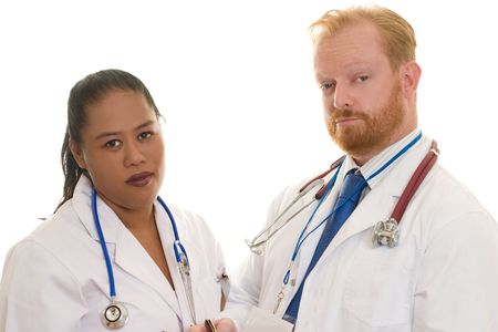 Two doctors - man and woman - diverse.  Focus on man photo