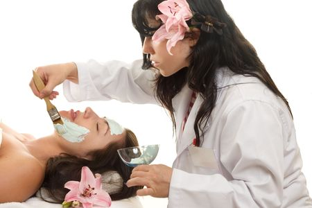 maintain: Estheticians (or aestheticians) are licensed Skin Care Specialists who treat the facial skin to maintain and improve its appearance. Stock Photo