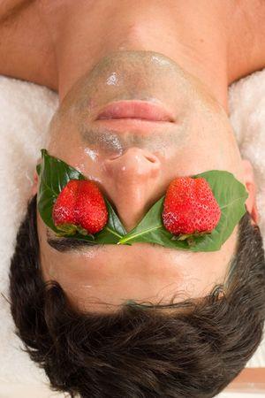 A man enjoys a fruit acid peel