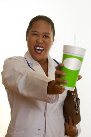 dietician: Healthy life, healthy choices.   Ethnic doctor, nurse or dietician, holding a fresh juice Stock Photo