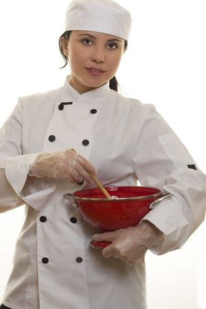 Chef holding kitchen utensils