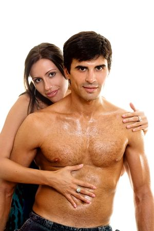 caresses: Woman embraces and caresses her lover or husband. Stock Photo
